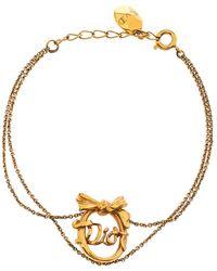 Dior Vintage Bow Logo Gold Tone Double Chain Bracelet - Metallic