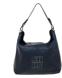 Carolina Herrera Carolina Hererra Navy Blue Pebbled Leather Hobo