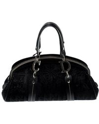 Dior Black Issimo Canvas And Leather Embroidered Flowers Frame Satchel