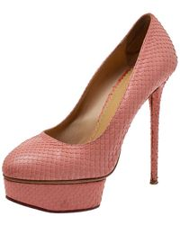Charlotte Olympia Coral Red Python Dolly Platform Court Shoes