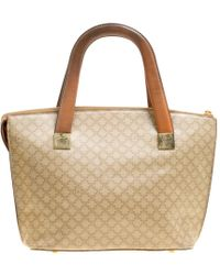 Céline Beige/brown Coated Canvas And Leather Macadam Zip Tote - Natural