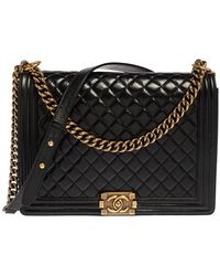 Chanel Black Quilted Leather Large Boy Flap Bag