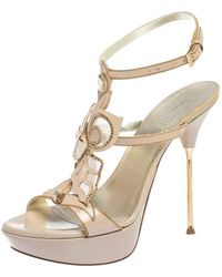Loriblu Pink Patent Leather Crystal And Chain Embellished Cut Out Platform Sandals