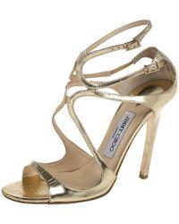 Jimmy Choo Gold Patent Leather Ivette Sandals - Metallic