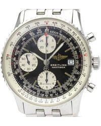 Breitling Black Stainless Steel Navitimer Automatic A13022 Wristwatch