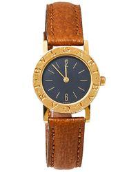 BVLGARI Black 18k Yellow Gold & Leather Bb 26 Gl Wristwatch 26mm