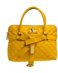 Marc Jacobs Mustard Quilted Leather Alina Satchel - Yellow