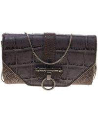 Givenchy Grey/beige Croc And Lizard Embossed Leather Obsedia Shoulder Bag - Gray