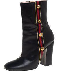 Gucci Black Leather Carly Malaga Boots