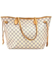 Louis Vuitton Damier Azur Canvas Neverfull Mm Tote - White