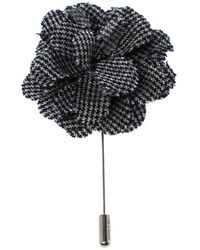 Lanvin Check Flower Wool Woven Silver Tone Stick Pin Brooch - Gray