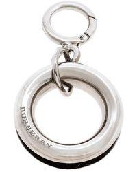 Burberry Palladium Plated Leather Detail Grommet Key Charm - Metallic