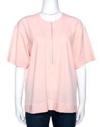 Balenciaga Peach Stretch Crepe Short Sleeve Top - Pink