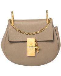 Chloé Dark Beige Leather Small Drew Shoulder Bag - Natural