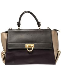 Ferragamo Multicolour Leather Large Sofia Top Handle Bag - Black
