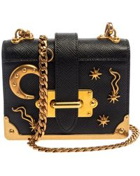 Prada Black Saffiano Leather Astrology Celestial Cahier Crossbody Bag