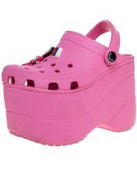 Balenciaga Pink Rubber Crocs Embellished Platform Slingback Sandals