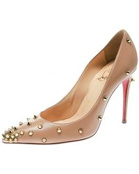 Christian Louboutin Beige Leather Degraspike Pumps - Natural