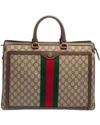 Gucci Beige/ebony GG Supreme Canvas And Leather Ophidia Briefcase - Natural