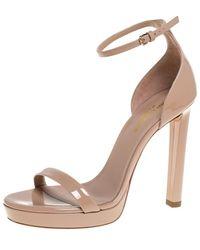 Saint Laurent - Beige Patent Leather Platform Ankle Strap Sandals - Lyst