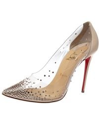 Christian Louboutin Cream Leather And Pvc Degrastrass Pointed Toe Pumps - Natural