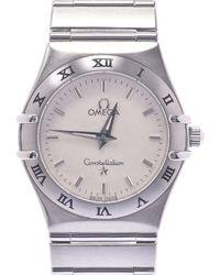 Omega White Stainless Steel Constellation 1572.30 Quartz Wristwatch 25 Mm