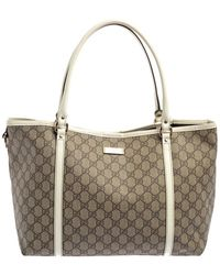Gucci Beige/white GG Supreme Canvas And Patent Leather Medium Joy Tote - Natural