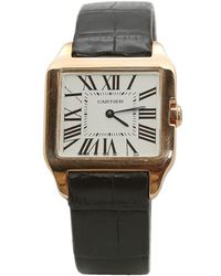 Cartier Santos Dumont White Pink Gold Watch