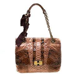 Lanvin Brown Python Happy Shoulder Bag