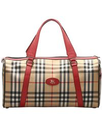 Burberry Brown House Check Canvas Duffle Bag - Natural