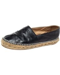 Chanel Black Leather Cc Cap Toe Espadrille Flats