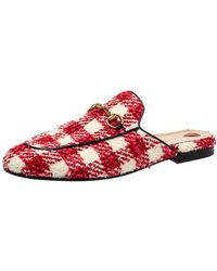 Gucci Red/white Tweed Princetown Mules Sandals