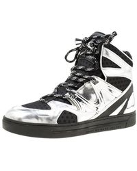 Marc By Marc Jacobs Metallic Silver/black Leather And Mesh High Top Trainers