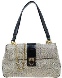 Ferragamo - Bi Colour Embossed Leather Gancini Shoulder Bag - Lyst