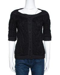Balenciaga - Black Cable Knit Three Quarter Sleeve Cardigan - Lyst