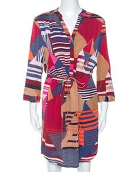 Diane von Furstenberg Multicolor Geometric Print Silk Freya Dress L