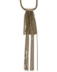 Lanvin Chain Link Gold Tone Long Tassel Statement Necklace - Metallic