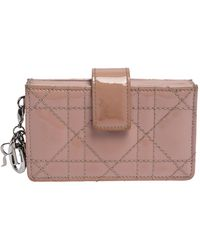 Dior Pink Cannage Patent Leather Lady Gusset Card Case