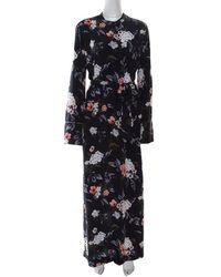 Equipment Britten Navy Blue Floral Printed Silk Belted Maxi Dress