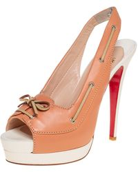 Christian Louboutin Beige Leather Jefferson Plato Slingback Sandals - Natural