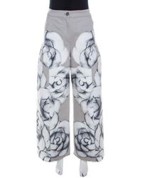Chanel Gray Camellia Painted Denim High Waist Flared Jeans M