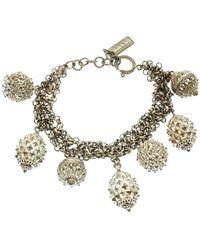 Etro Textured Charm Silver Tone Chain Link Bracelet - Metallic