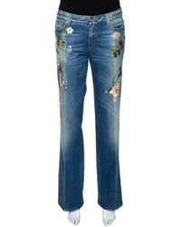 Roberto Cavalli Blue Floral Embroidered Denim Flared Jeans