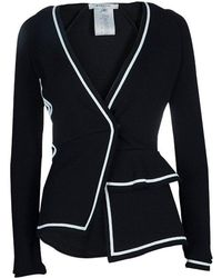 Givenchy Black Applique Embroidered Ruffle Detail Knit Jacket Xs