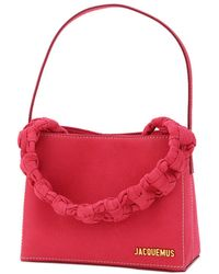 Jacquemus Pink Leather Le Sac Noeud Braided Handle Mini Bag