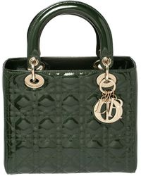 Dior Dark Green Cannage Patent Leather Medium Lady Tote