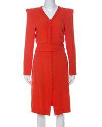 Sonia Rykiel Orange Crepe Button Front Power Shoulder Belted Dress L