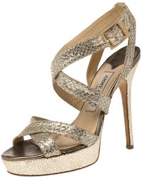 Jimmy Choo Gold/silver Glitter Vamp Strappy Platform Sandals - Metallic