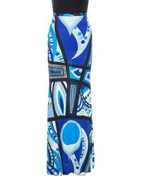 Emilio Pucci Blue Abstract Printed Jersey Flared Maxi Skirt