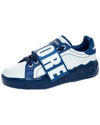 Dolce & Gabbana Blue/white Elastic Logo Leather Melt Portofino Sneakers